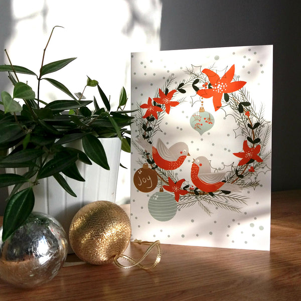 Mid Century Modern Christmas Decor Holiday Cards - Vintage Christmas Wreath Christmas Card - Edith May Designs