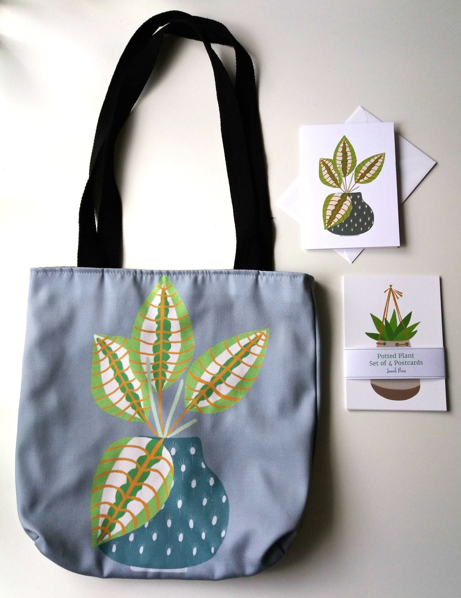 House Plants Teacher Tote Bag Thank You Gift, Prayer Plant Reusable Grocery Bag Gift Set - Edith May Designs