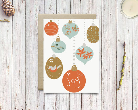 Modern Christmas Ornament Holiday Cards - Mid Century Modern Christmas Bauble Card For Best Friend - Edith May Designs
