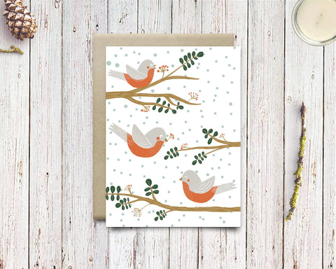 Mid Century Modern Red Robin Holiday Cards - Modern Christmas Robin Art Xmas Card - Edith May Designs