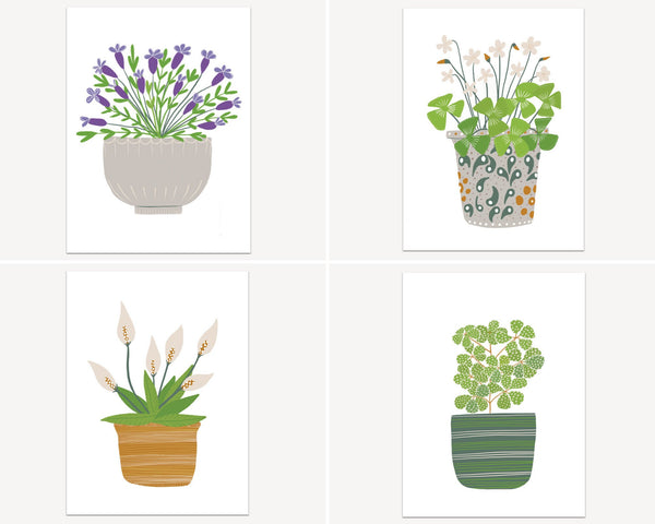 Houseplants Botanical Print Post Card Set Birthday Gift - Plant Print Bedroom Wall Decor Housewarming Gift - Edith May Designs
