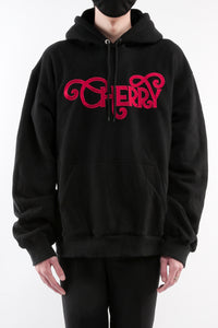 CHERRY DISCOTHEQUE - LOGO HOODIE IN ONYX BLACK WITH RED EMBROIDERY