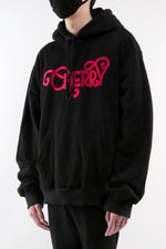 Load image into Gallery viewer, CHERRY DISCOTHEQUE - LOGO HOODIE IN ONYX BLACK WITH RED EMBROIDERY
