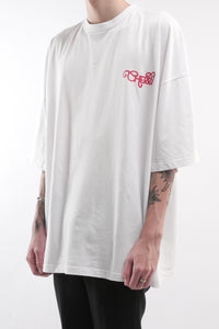 CHERRY DISCOTHEQUE - BIG BOY CUT BASIC LOGO T-SHIRT IN IVORY WHITE