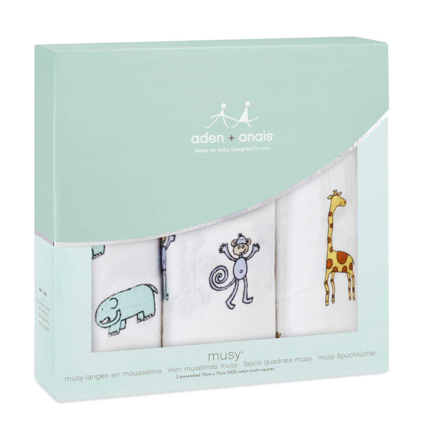 Aden & Anais 3 Pack Muslin Squares - Jungle Jam