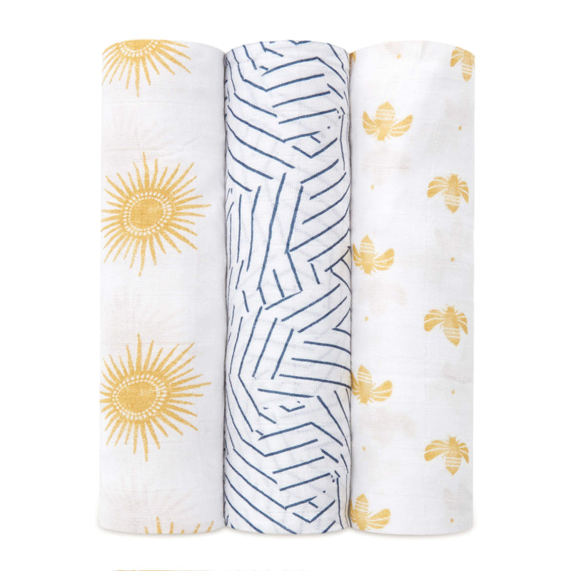 Aden & Anais 3 Pack Silky Soft Swaddle Wraps - Golden Sun