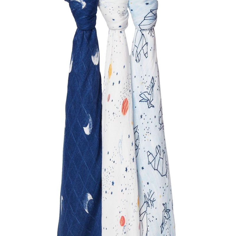 Aden & Anais 3 Pack Silky Soft Swaddle Wraps - Stargaze