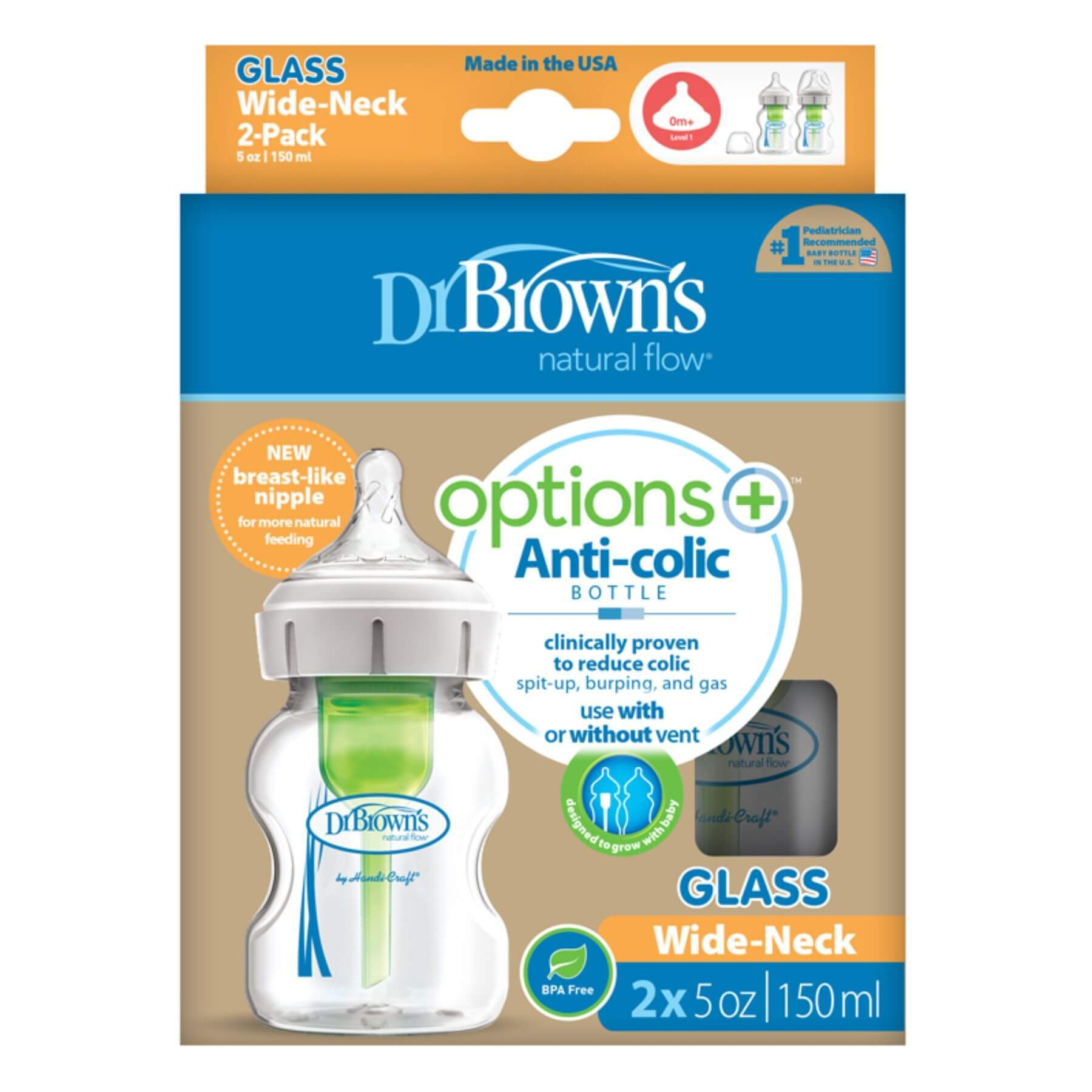 Dr Browns Options+ Glass Bottle 150ml 2pk