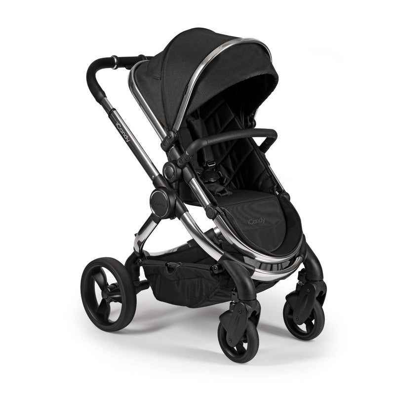 iCandy Peach Chrome Pushchair & Carrycot Bundle - Black Twill