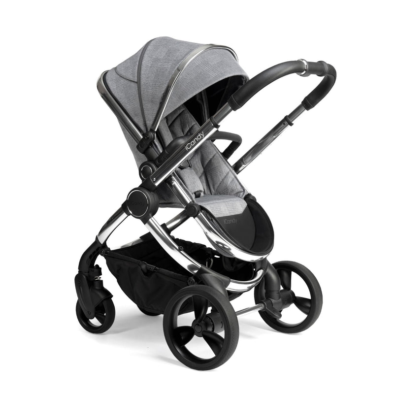 iCandy Peach Chrome Pushchair & Carrycot Bundle - Light Grey Check