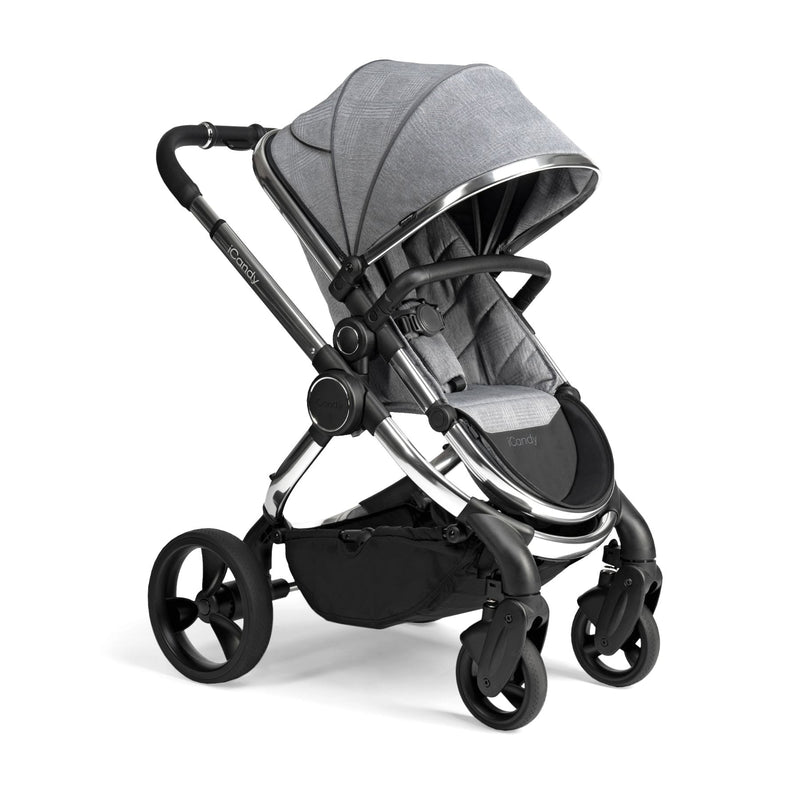 iCandy Peach Chrome Pushchair & Carrycot - Light Grey Check