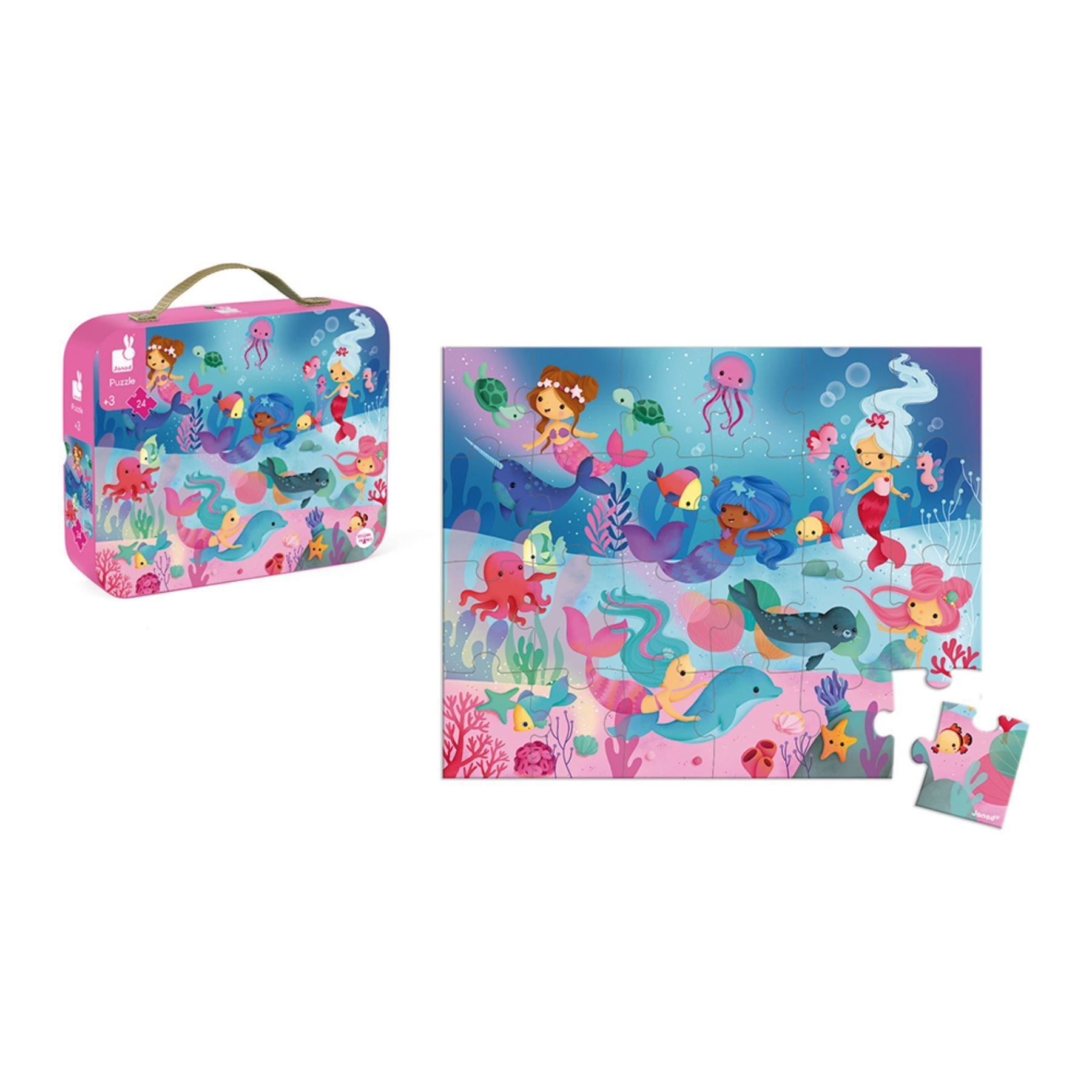 Janod Hat Boxed 24 Piece Puzzle - Mermaids