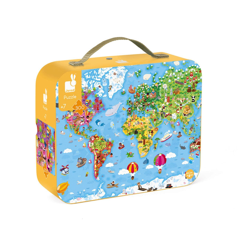 Janod Hat Boxed 300 Piece Giant Puzzle - World Map