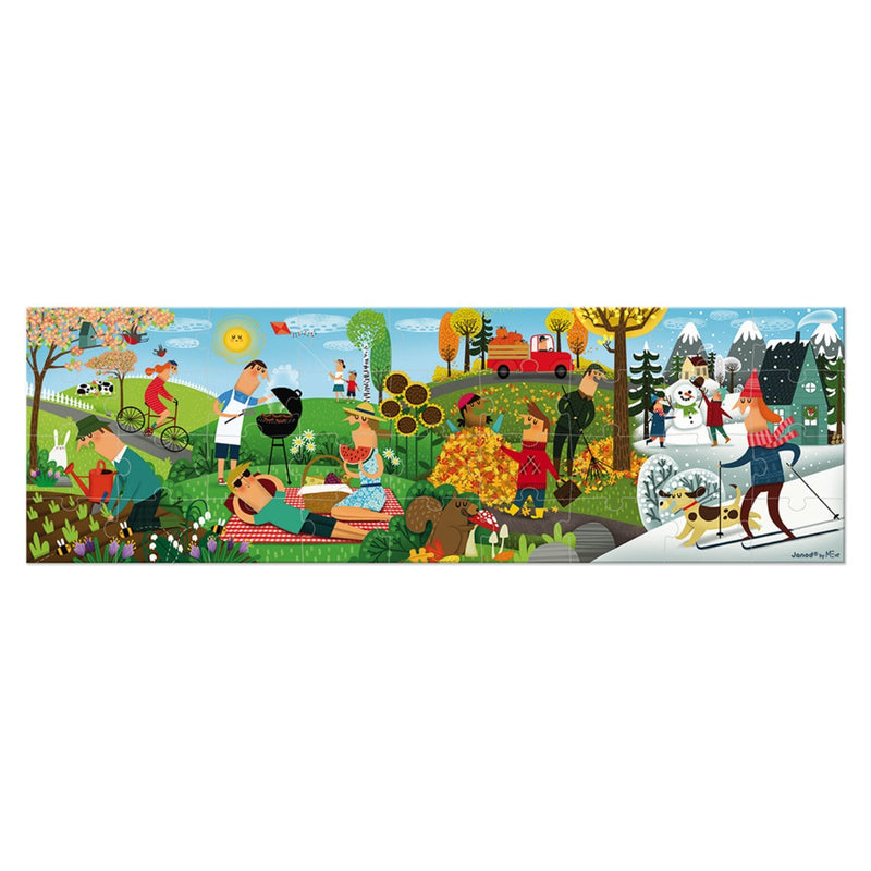 Janod Hat Boxed 36 Piece Panoramic Puzzle - 4 Seasons