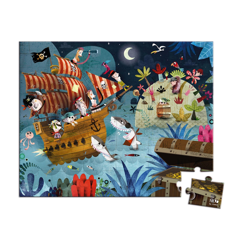 Janod Hat Boxed 36 Piece Puzzle - Treasure Hunt