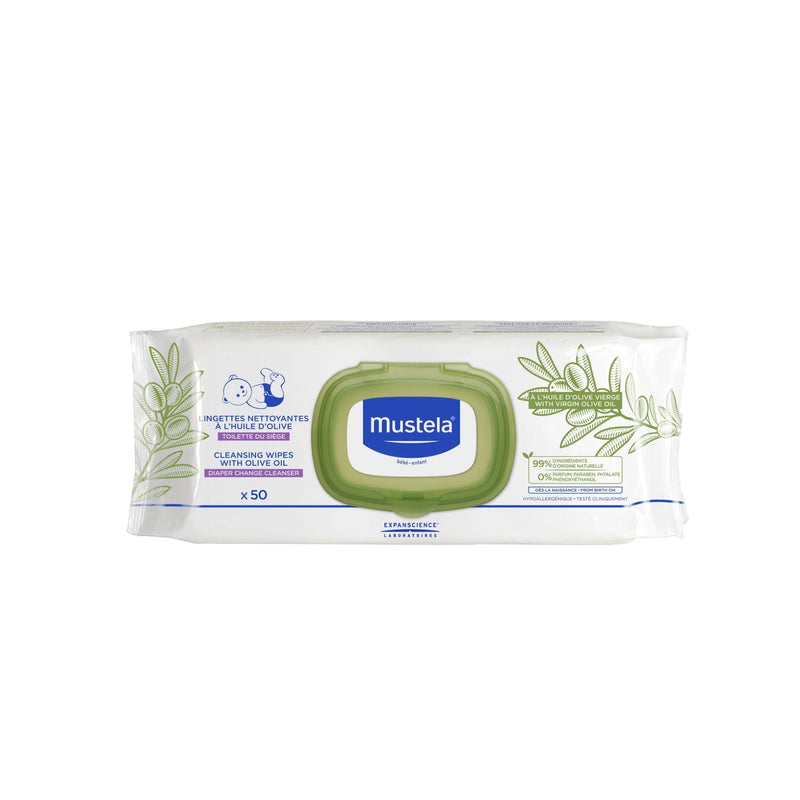 Mustela Cleansing Wipes with Olive Oil for Nappy Change (50 wipes)