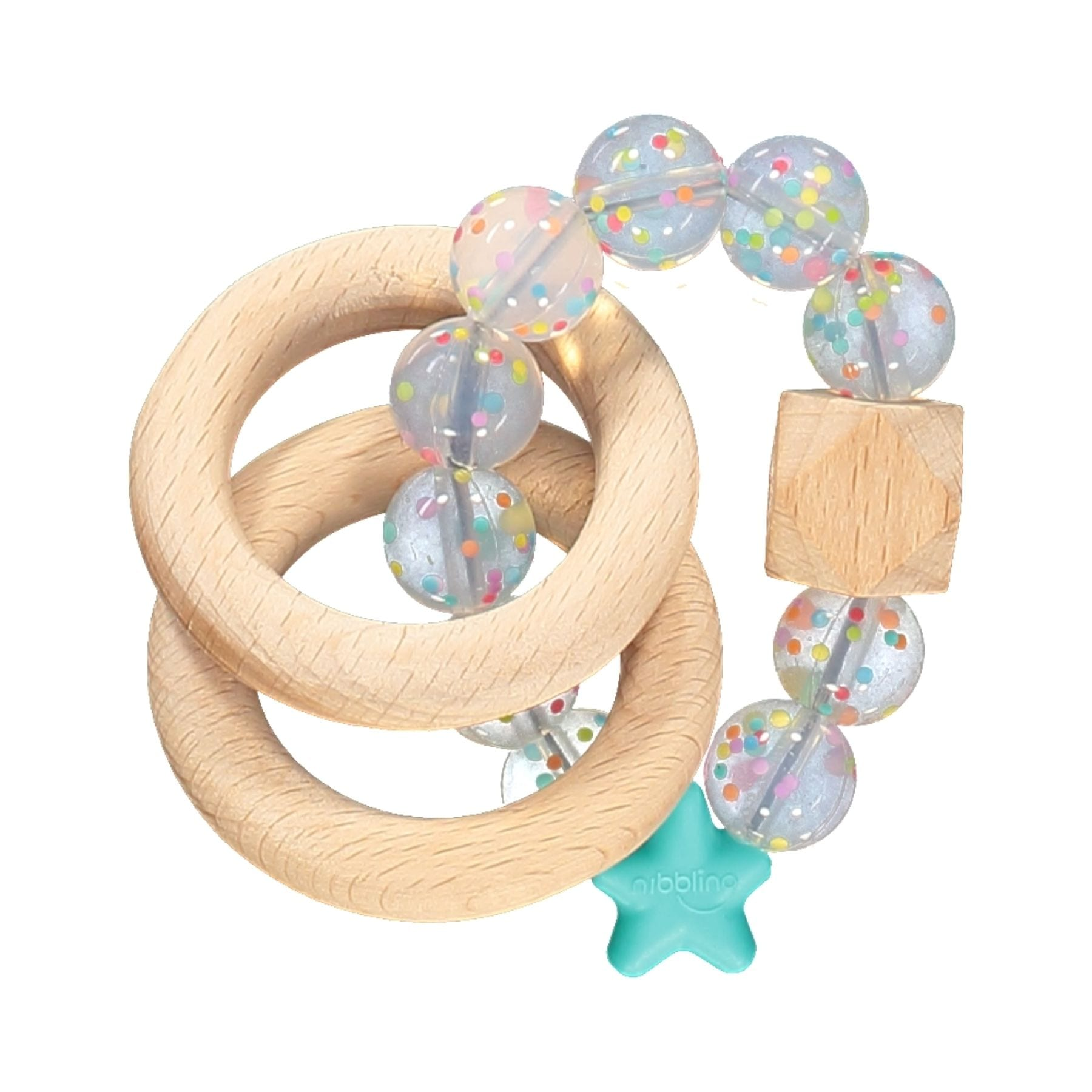 Nibbling Silicone & Wood Rattle - Candy Turquoise