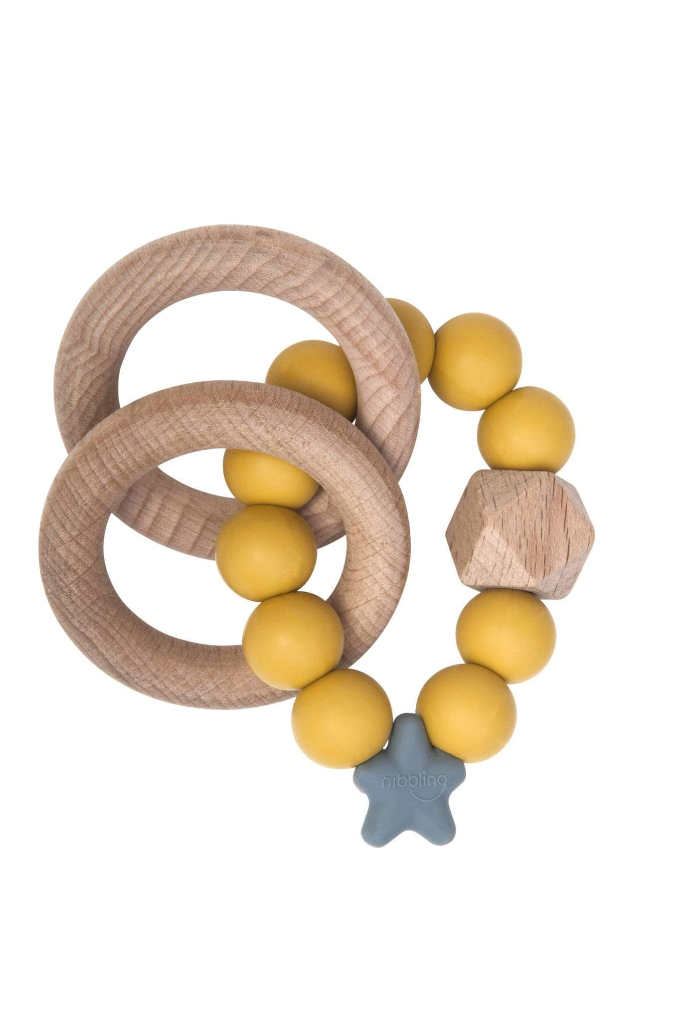 Nibbling Silicone & Wood Rattle - Mustard