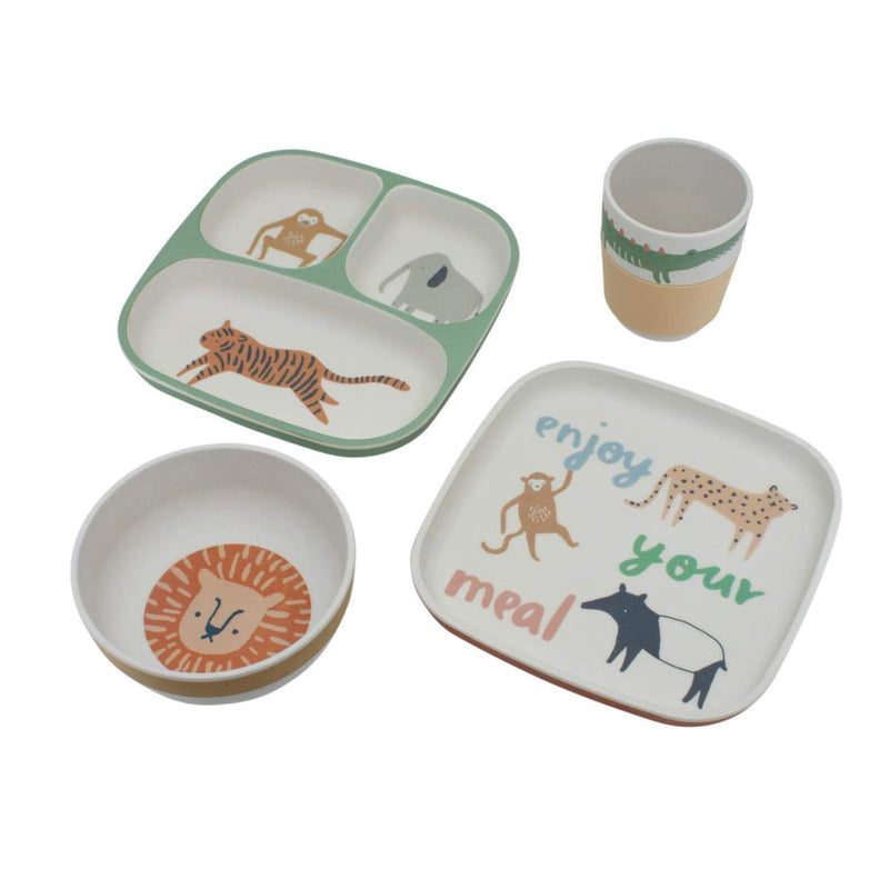 Sebra Bamboo Melamine Dinner Set - Wildlife 4pcs