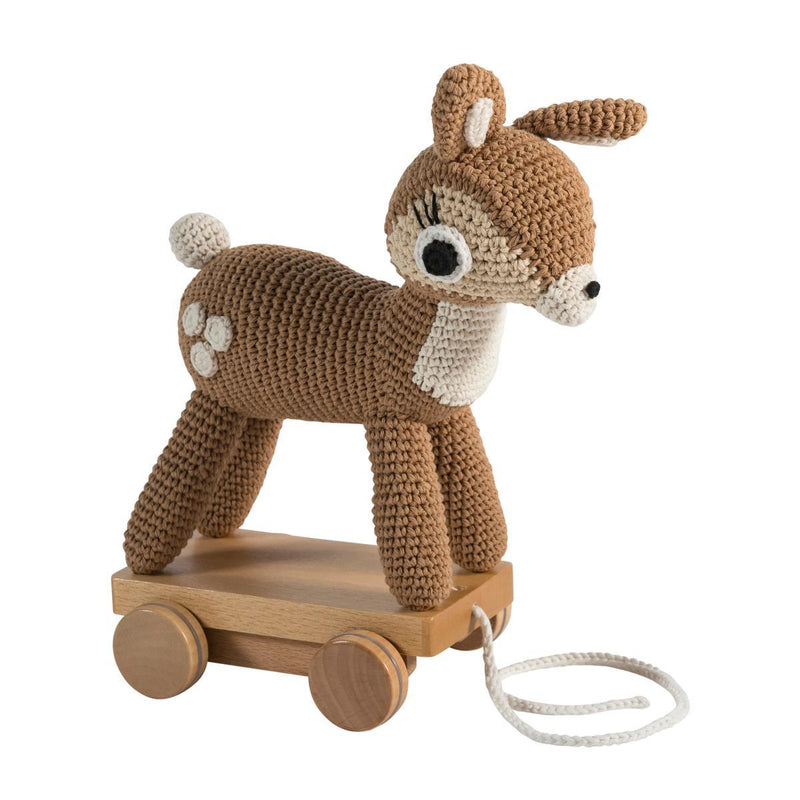 Sebra Crochet Pull-Along Toy - Deer