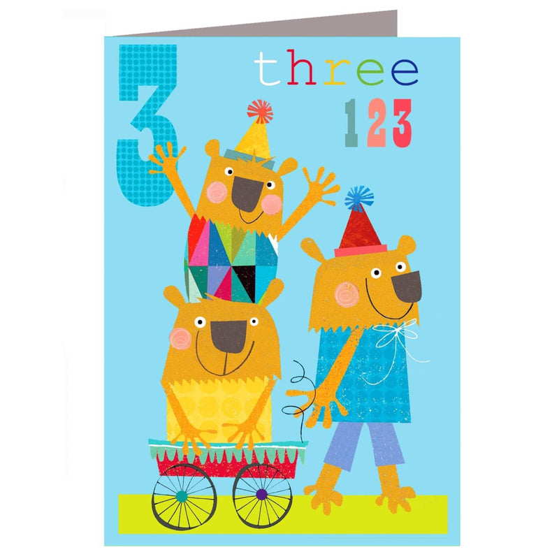 The Square Card Company Wheelie Birthday Card - Three Bears