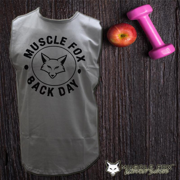 Muscle Fox Back Day T-shirt White - The Muscle Kart.com
