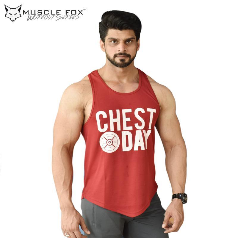 Muscle Fox Chest Day Maroon Vest - The Muscle Kart.com