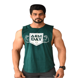 Muscle Fox Arm Day T-Shirt Green - The Muscle Kart.com