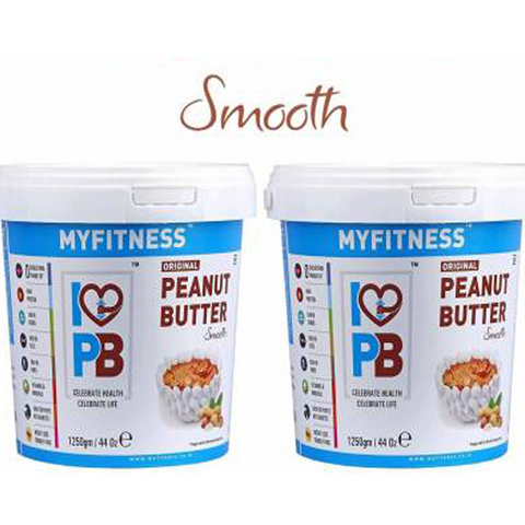 MYFITNESS Smooth Peanut Butter (1250g) 2500 g  (Pack of 2) - The Muscle Kart.com