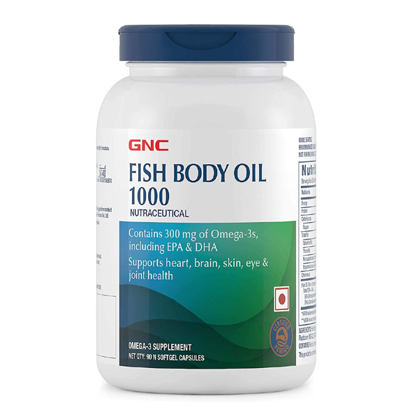 GNC Fish Body Oil 90 Softgel Capsules - The Muscle Kart.com