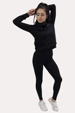 Bunch Neck Hoodie - Minimal Black