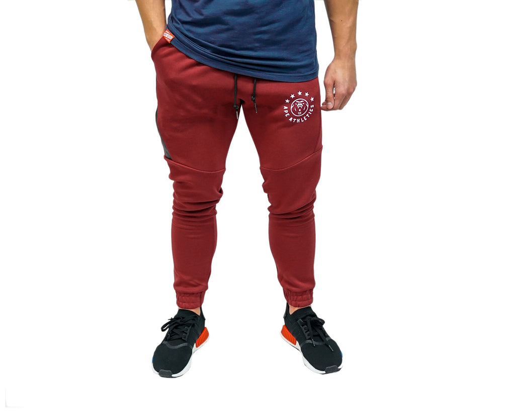 ApeAthletics Tech Joggers Burgundy