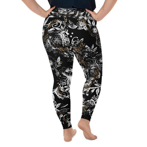 """Marbles"" Black Massive Print Curvy Extended Size Leggings"