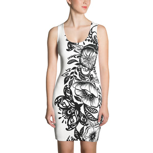 "Massive Print ""Kitty Flower "" Body-Con Dress"