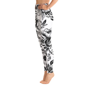 "Massive Print ""Kitty Flower"" High Waist Leggings"