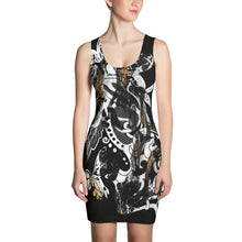 "Load image into Gallery viewer, ""Marbles"" Black Crown Massive Sublimation Print Tank Dress"