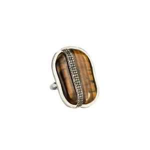 Dao Fournier Tiger Eye and Silver and Diamond Statement Ring
