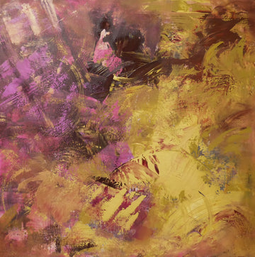 Gold, ruby and pink abstract painting