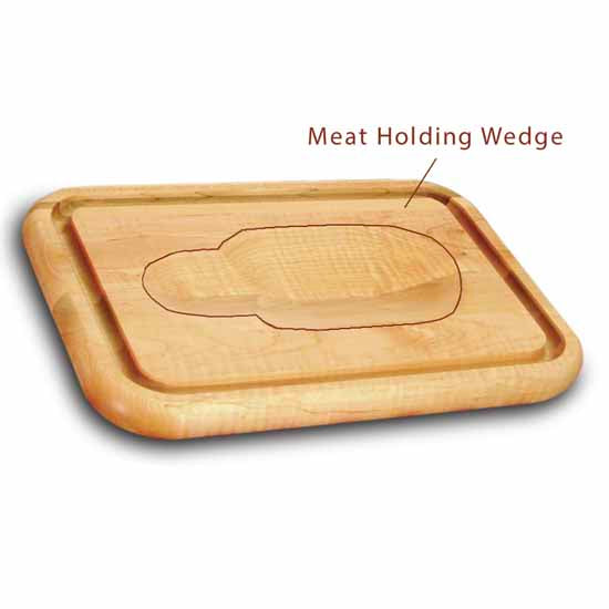 "Versatile Meat Holding Wedge Cutting Board With Trench, 16"" - Pot Racks Plus"
