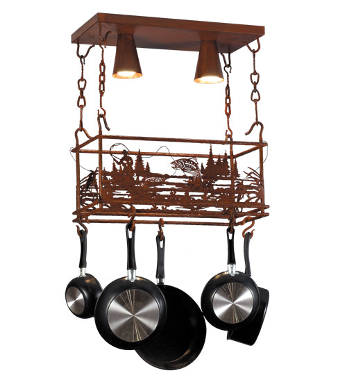 "24"" Long Fly Fishing Creek Pot Rack - Pot Racks Plus"