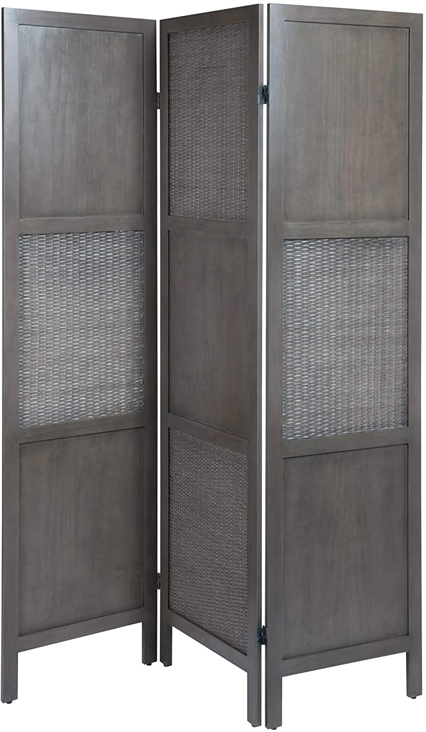 Ramie Folding Screen, Oyster Gray - Pot Racks Plus