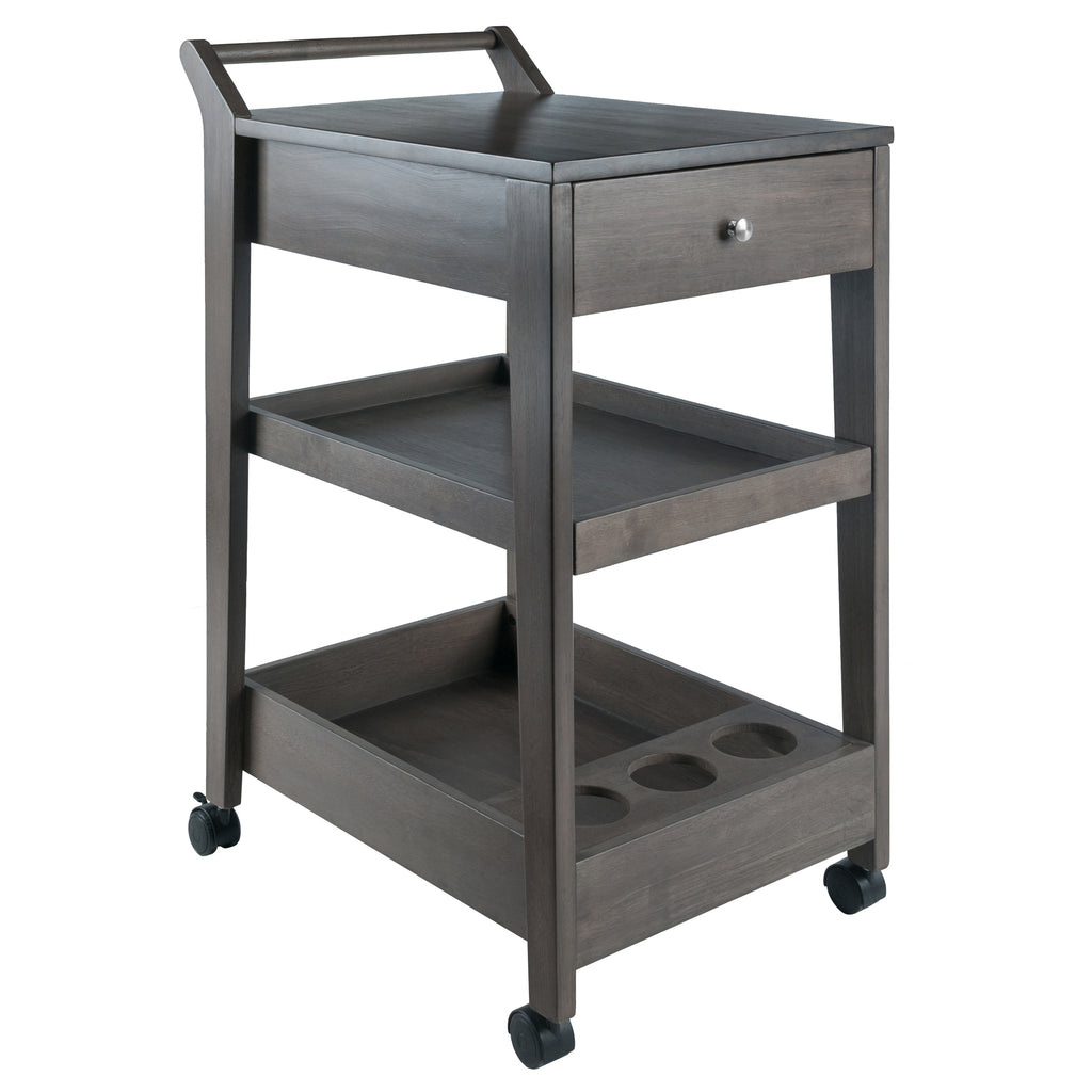 eston Entertainment Cart, Oyster Gray - Pot Racks Plus