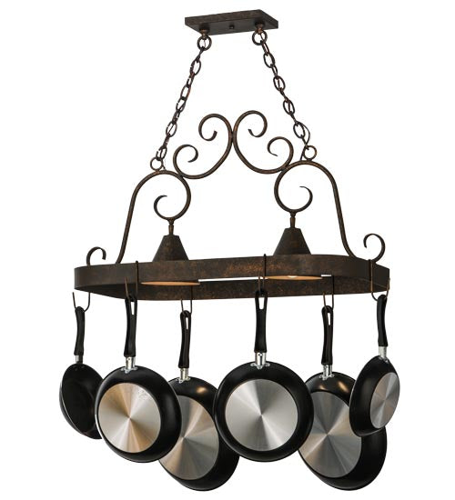 "32""L Elana 2 Light Pot Rack - Pot Racks Plus"