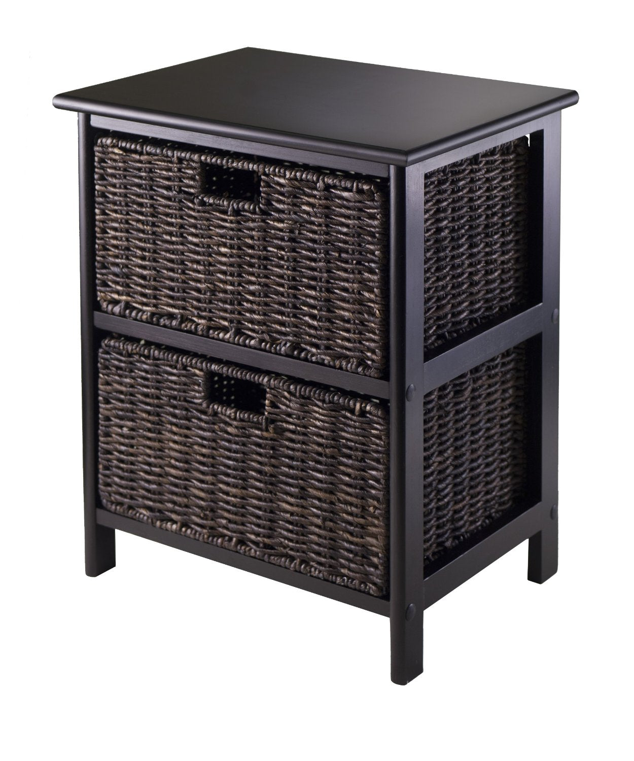 Omaha Storage Rack With Foldable Baskets, Black, 2 Baskets - Pot Racks Plus