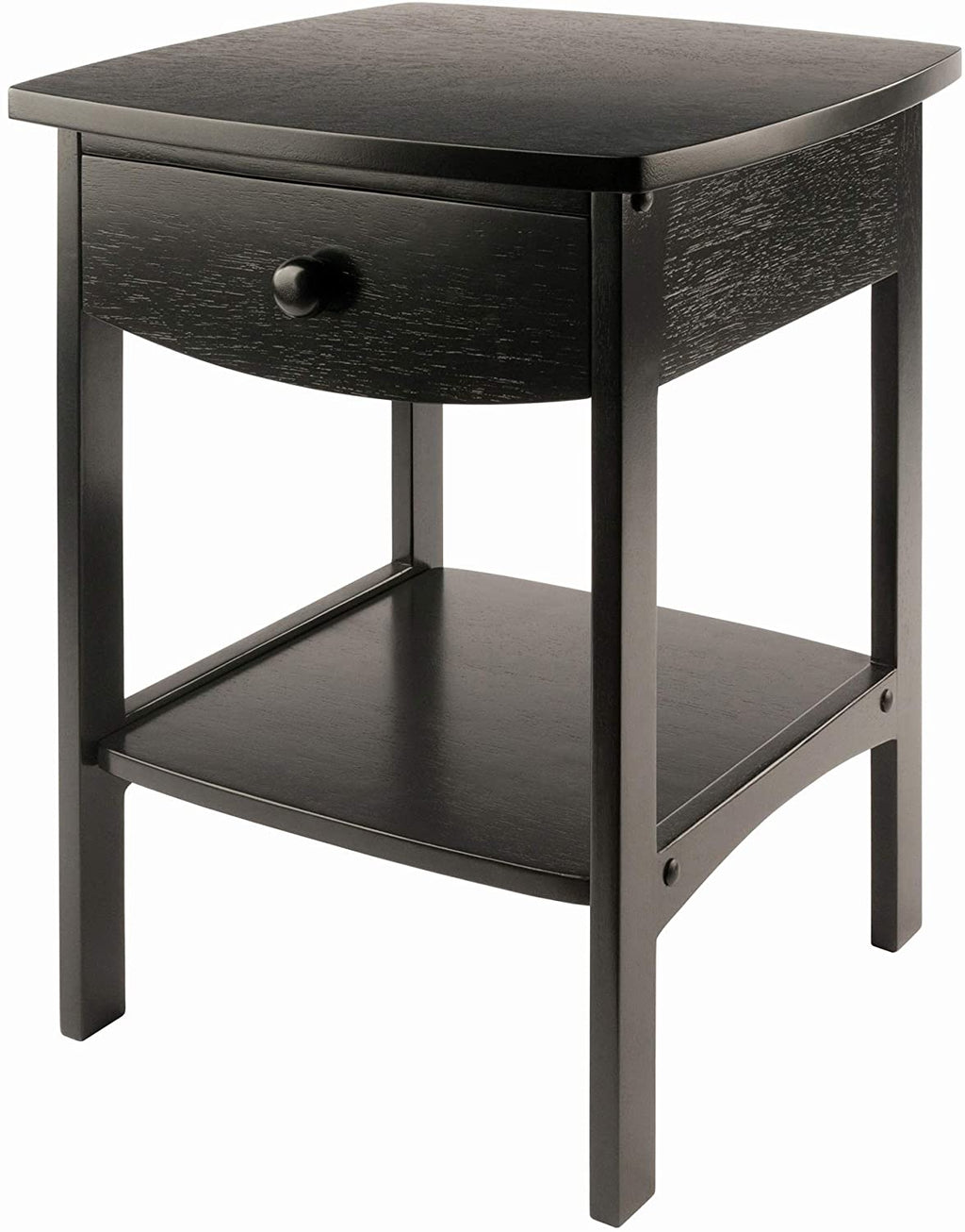 Curved End Night Stand Table, 1 Drawer, Black - Pot Racks Plus
