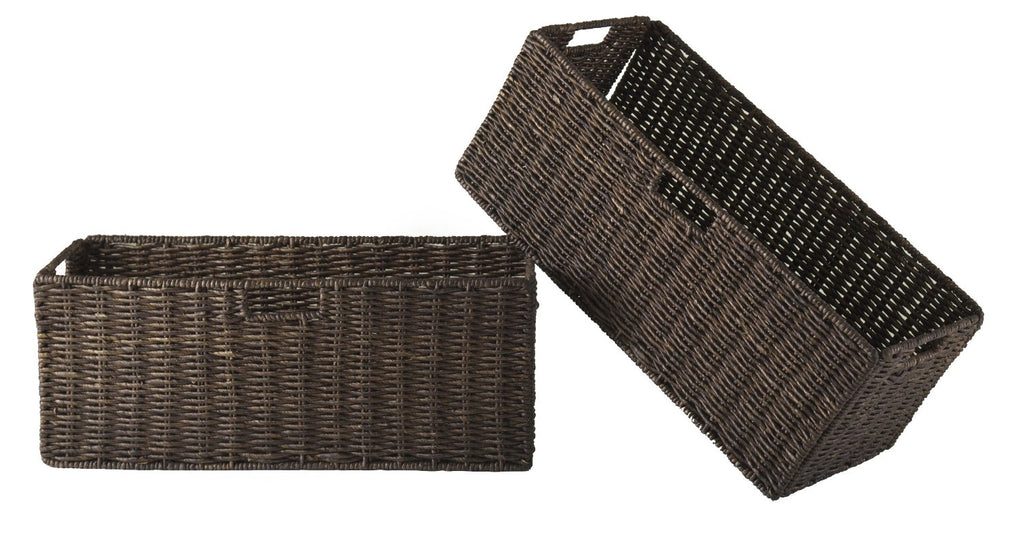 Granville Foldable 2-Piece Large Corn Husk Baskets, Chocolate - Pot Racks Plus