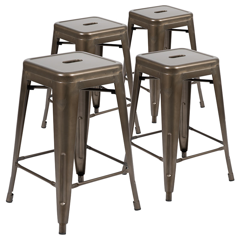 "Flash Furniture  24"" High Metal Counter-Height, Indoor Bar Stool in Gun Metal Gray - Stackable Set of 4 - Pot Racks Plus"