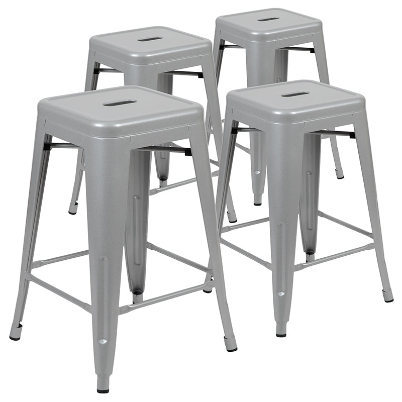 "Flash Furniture  24"" High Metal Counter-Height, Indoor Bar Stool in Silver - Stackable Set of 4 - Pot Racks Plus"