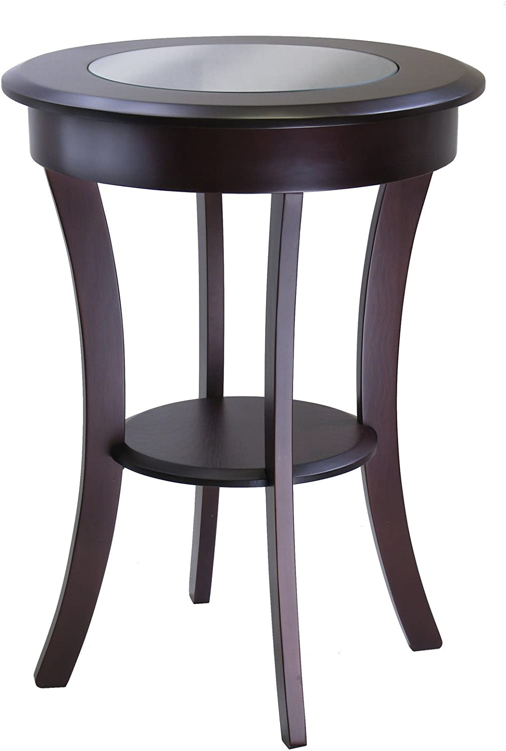 Cassie Round Accent Table With Glass - Pot Racks Plus
