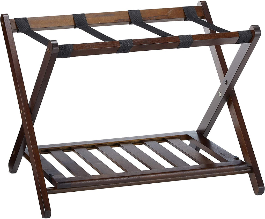 Remy Luggage Rack With Shelf, Cappuccino - Pot Racks Plus